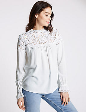 Long Sleeve Lace Yoke Blouse, SOFT WHITE, catlanding