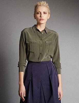 Pure Silk Button Through Shirt, KHAKI, catlanding