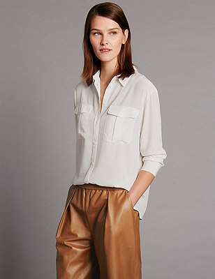 Pure Silk Button Through Shirt, IVORY, catlanding