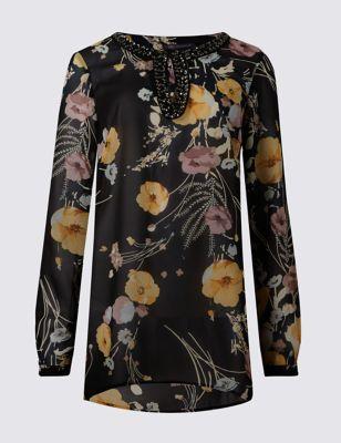 Романтичная туника с цветами и декорированной горловиной M&S Collection T434988