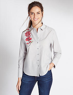 Pure Cotton Embroidered Shirt, GREY MIX, catlanding