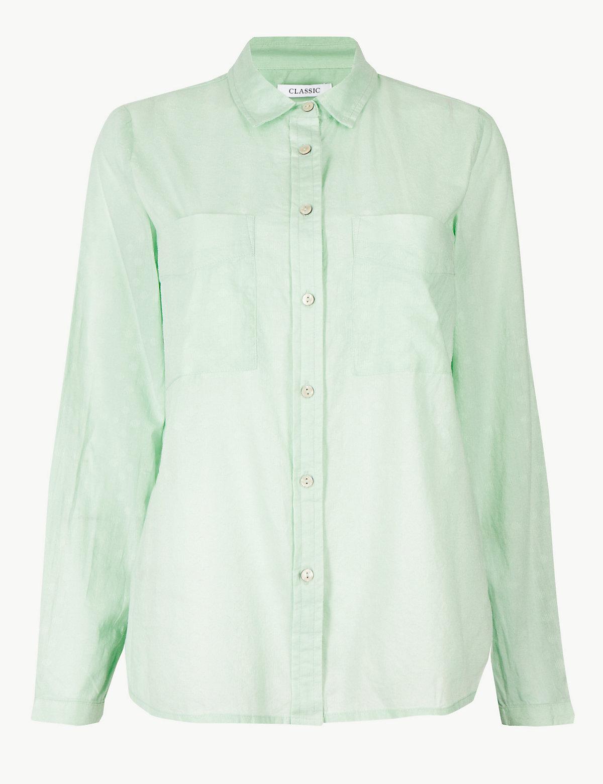 Хлопковая рубашка с длинным рукавом и карманами на груди