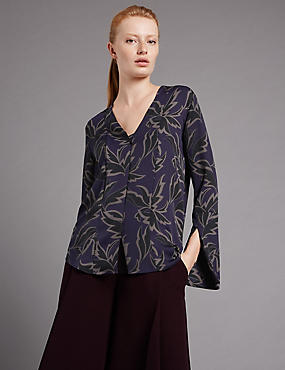 Graphic Floral Print Long Sleeve Blouse, PURPLE MIX, catlanding