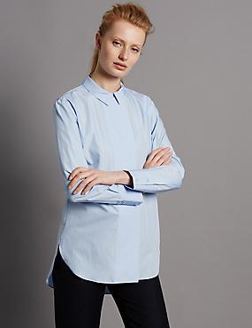 Popeline-Hemd aus reiner Baumwolle mit breiter, verdeckter Knopfleiste, REINBLAU, catlanding