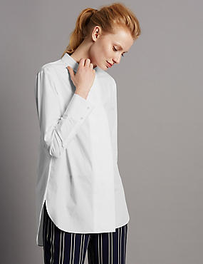 Popeline-Hemd aus reiner Baumwolle mit breiter, verdeckter Knopfleiste, WEISS, catlanding