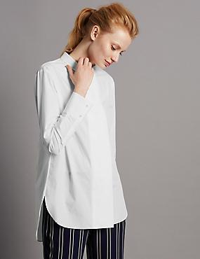 Pure Cotton Wide Placket Poplin Shirt, WHITE, catlanding