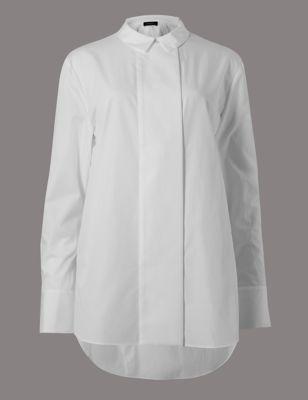 Рубашка из поплина с закруглённым низом и широкой планкой Autograph T435308