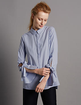 Pure Cotton Striped Poplin Shirt, CHAMBRAY, catlanding