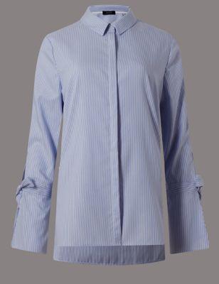 Рубашка из поплина в полоску с бантиками на рукавах Autograph T435310