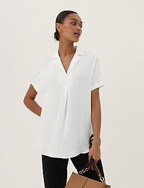 Cotton Blend Lace Peplum Shell Top, IVORY, catlanding