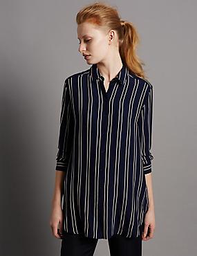 Striped Longline Long Sleeve Shirt, INK, catlanding