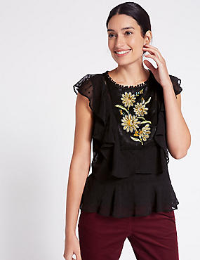 Embroidered Ruffle Round Neck Blouse, BLACK MIX, catlanding