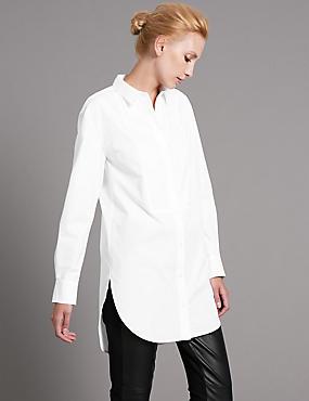 Getailleerd, wit Supima®-overhemd van katoenmix, WHITE, catlanding