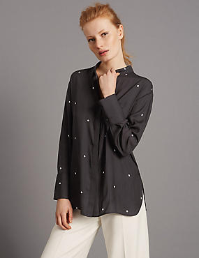 Spot Tie Back Blouse, WHITE/BLACK, catlanding
