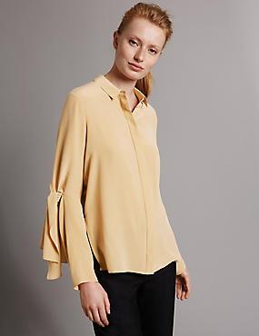 Pure Silk Tie Featured Sleeve Shirt, SOFT SPICE, catlanding