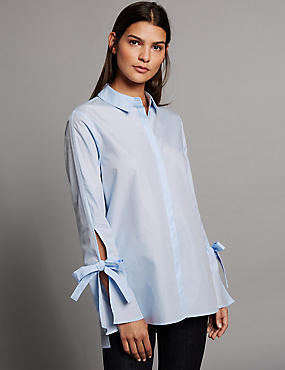 Pure Cotton Poplin Tie Sleeve Shirt, LIGHT BLUE, catlanding
