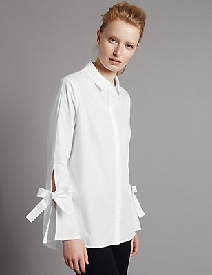 Pure Cotton Poplin Tie Sleeve Shirt, WHITE, catlanding