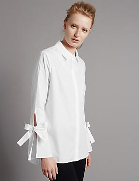 Pure Cotton Poplin Tie Sleeve Shirt, WHITE, catlanding