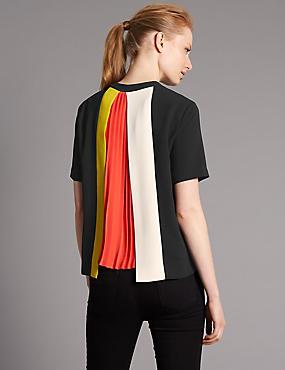 Pleat Back Short Sleeve Shell Top, BLACK, catlanding