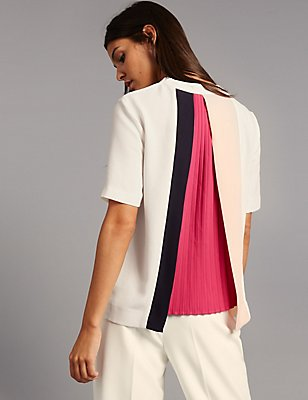 Pleat Back Short Sleeve Shell Top, IVORY MIX, catlanding