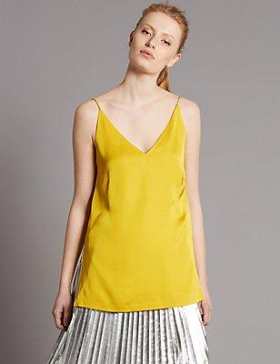 V-Neck Longline Camisole Top, CHARTREUSE, catlanding