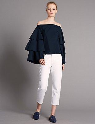 Pure Cotton Tiered Sleeve Bardot Top, INK, catlanding