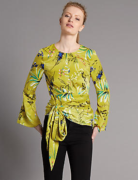 Printed Wrap Round Neck Long Sleeve Blouse, CHARTREUSE, catlanding