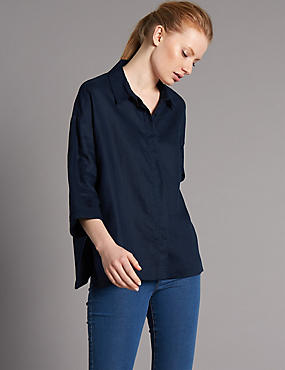 Pure Linen 3/4 Sleeve Shirt, INK, catlanding