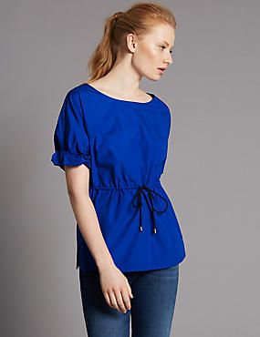 Pure Cotton Round Neck Frill Sleeve Blouse, COBALT, catlanding
