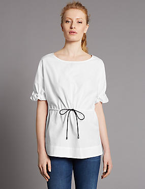 Pure Cotton Round Neck Frill Sleeve Blouse, WHITE, catlanding