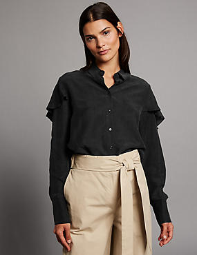 Modal Blend Ruffle Long Sleeve Shirt, BLACK, catlanding