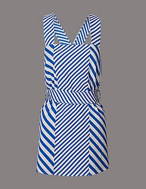 Cotton Blend Striped Tie Detail Vest Top, BLUE MIX, catlanding