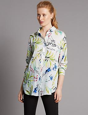 Floral Print Longline Shirt, WHITE, catlanding