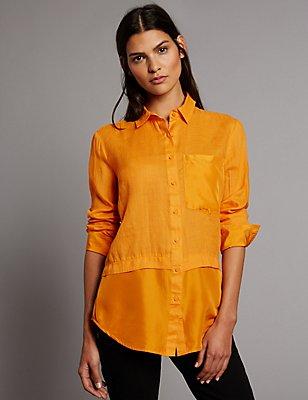 Ramie Silk Long Sleeve Shirt, AMBER, catlanding
