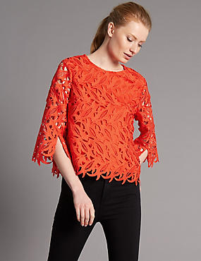 Lace Round Neck 3/4 Sleeve Shell Top, RED, catlanding