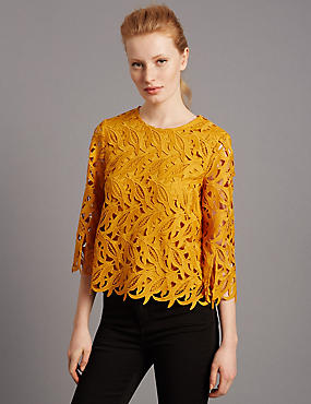 Floral Lace 3/4 Sleeve Shell Top, YELLOW, catlanding