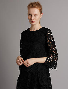 Floral Lace 3/4 Sleeve Shell Top, BLACK, catlanding