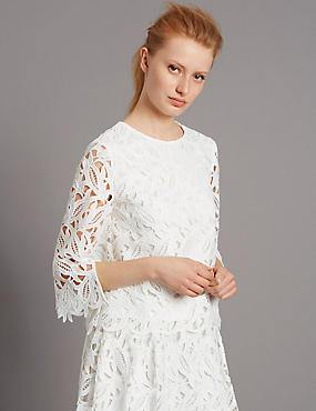 Floral Lace 3/4 Sleeve Shell Top, WHITE, catlanding