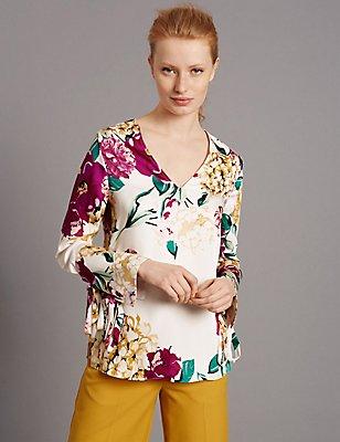Floral Print Long Sleeve Satin Blouse, IVORY, catlanding