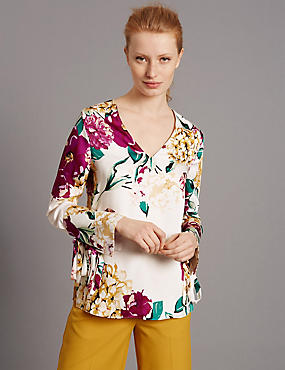 Floral Print Long Sleeve Satin Blouse, IVORY, catlanding