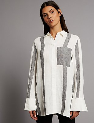 Pure Linen Striped Long Sleeve Shirt, BLACK MIX, catlanding