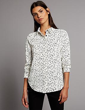 Camisa de manga larga estampada, NEUTRO, catlanding