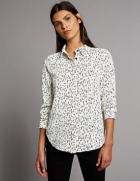 Printed Long Sleeve Shirt, NEUTRAL, catlanding