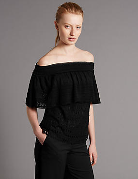 Cotton Blend Lace Bardot Blouse, BLACK, catlanding