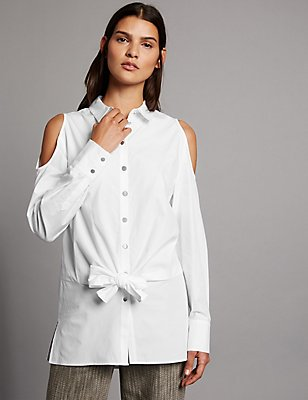 Pure Cotton Cold Shoulder Tie Detail Shirt, WHITE, catlanding