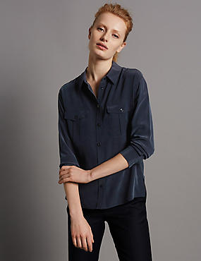 Pure Silk Long Sleeve Shirt, NAVY, catlanding