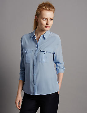 Pure Silk Long Sleeve Shirt, PALE BLUE, catlanding