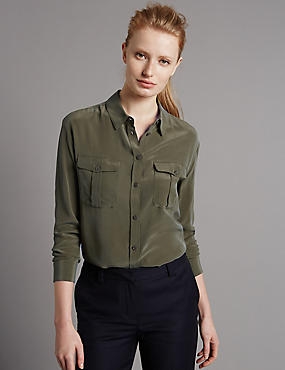 Pure Silk Long Sleeve Shirt, BRIGHT SAGE, catlanding