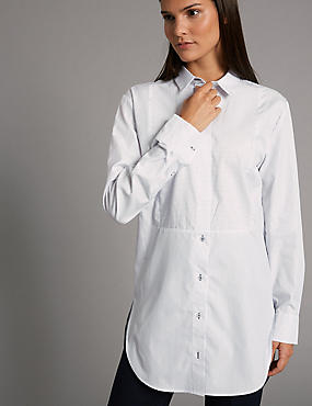 Cotton Rich Poplin Longline Shirt, BLUE MIX, catlanding
