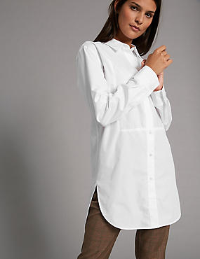 Cotton Rich Poplin Longline Shirt, WHITE, catlanding